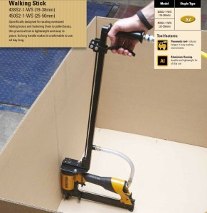 The Bostitch walking stick makes attaching a Gaylord style box to a pallet easy!